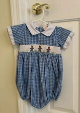 *Will'beth Smocked Embroidered Boy Blue Bubble Outfit Spring Easter Bear 18M*