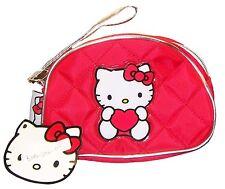 Oficial Sanrio Hello Kitty Rojo Acolchado Embrague / componen Bolso Con Asa