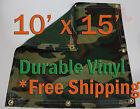 10' x 15' Heavy Duty 18 oz Vinyl Camo Camouflage Tarp Ground Cover Blind Hunting