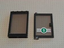 Lego - 2 Black Bank Doors and (&) Windows with Smoke Glass 1x4x5 (4347 2493)