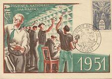 CP MAXIMUM JOURNEE DU TIMBRE 1951 AMBERT