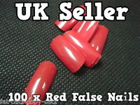 100 x BLOOD RED FALSE FAKE FRENCH FULL COVER NAILS 10 SIZES MAKE UP UK SELLER