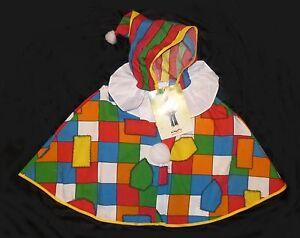 Clownskostüm Zirkus CLOWN CAPE UMHANG Kapuze Mütze 86 92 98 104 110 116 122 128