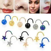 Lots Surgical Steel Seamless Nose Piercing Ring Clip On Hoop Studs Body Jewelry