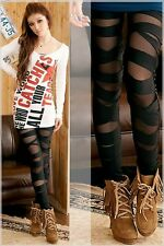Leggings Risse Cross Gothik Sport Leggins Freizeit Casual Punk Fitness XS S M