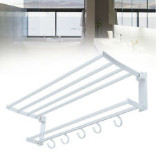 Double Wall Mounted Bathroom Towel Rail Holder Shelf Storage Rack Stainless