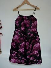 Ladies Fab Warehouse Pink & Black Floral Strappy Above Knee Party Dress 12, Vgc