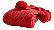 New Threshold Pom Pom Corners Red Throw Knit Blanket ~ 50 x 60 ~ Machine Wash ~