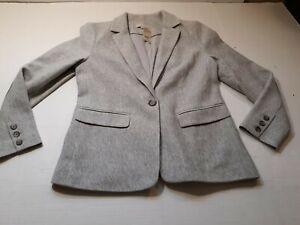 Loft Petite Blazer Gray 1 Button Pockets Cotton Size 6P Shoulder Pads NEW