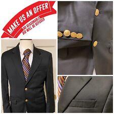 💎Men's Ralph Lauren Chaps💎Black Gold Shield Buttons Blazer Jacket 36S C0706