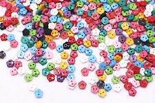 Tiny Flower Button Plastic Floral Shaped Two Holes Mixed Colors Small 6mm 100pcs