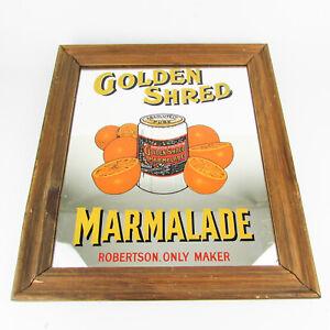 Vintage Golden Shred Marmalade advertisement mirror in wooden frame