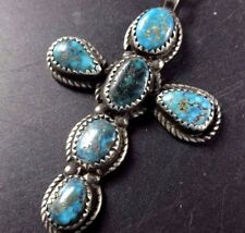 """LOVELY Vintage NAVAJO Sterling Silver & Turquoise CROSS PENDANT + 18"""" Box Chain"""