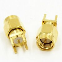 2pcs SMA Male Plug Center Solder for PCB Mount RF Connector High Quality Ships