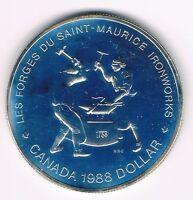 KANADA  1 DOLLAR 1988, 250 JAHRE EISENPRODUKTION IN KANADA  PP  Silber