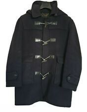 Barbour Mens Coat Jacket Wool Tweed Navy Blue With Detachable Hood Duffle 44/ XL