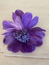 Purple Fabric Hair Flower Alligator Clip