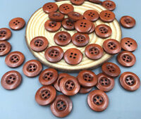 100pcs Red Brown 4 Holes Round Wooden Buttons Sewing Scrapbooking 15mm
