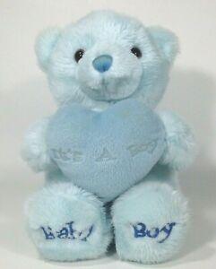 "Aurora Baby Boy Teddy Bear Blue Plush Stuffed Animal Comfy Heart Pillow 9"""