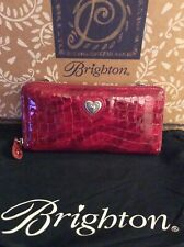 "BRIGHTON ""BELLISSIMO"" RED LARGE LEATHER ZIP WALLET CROSS BODY"