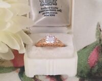 Vintage Jewellery Gold Ring with White Sapphires Antique Deco Jewelry size R
