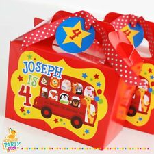 Personalised Children London Red Bus Party Box Animal Birthday Party Bag Lunch