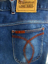 40x27 Fit Vtg 80's Mens Long Haul Bootcut Trucker Disco Pocket Jeans Made In Usa