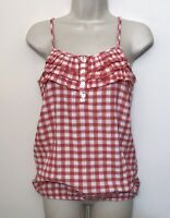 NWT Maurices Small Tank Top Red & White Sleeveless Elastic Hem Cami