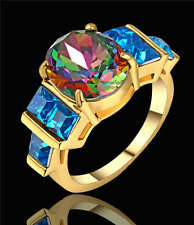 Rainbow topaz&Blue Sapphire Ring 18K yellow Gold Filled Wedding Band Ring Sz 8