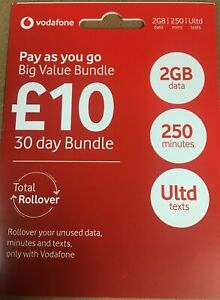 VODAFONE Pay As You Go SIM Card For Doro Mobile Phones AND OTHERS MOBILES