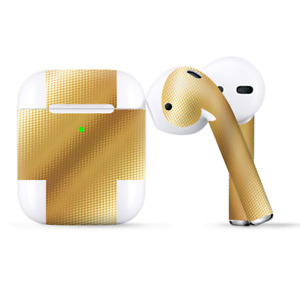 Skins Wraps compatible for Apple Airpods  Gold Pattern Shiney