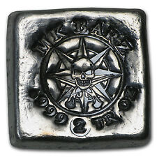 2 oz Silver Square - MK Barz & Bullion (Pirate Compass) - SKU #103100