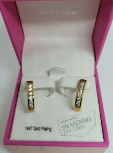 Kiera Couture 14k Gold Plate Over Sterling Silver Swarovski Zirconia Earrings
