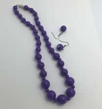 PURPLE ACRYLIC NECKLACE EARRINGS SET strand 18 INCH GRADUATED SUMMER 50'S RETRO