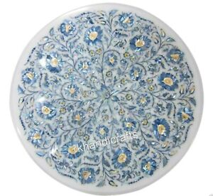 18 Inches Marble Inlay Table Top with Blue MOP Work Coffee Table Home Decorative