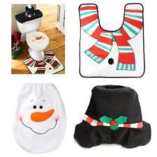 Christmas Decorations 3Pcs Xmas Snowman Toilet Seat Cover & Rug Bathroom Set