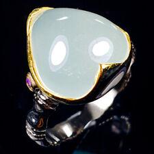 Handmade Natural Aquamarine 925 Sterling Silver Ring Size 8/R120918