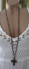Neu Schöne  Damen Halskette Kreuz Perlen Grau-Anthrazit Kette Hippie Ibiza