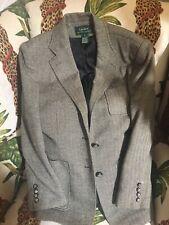 Lauren Ralph Lauren Vintage Equestrian Jacket Horse Buttons Silver Tweed Black