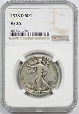1938-D 50C NGC VF 25 (Better Date) Liberty Walking Half Dollar