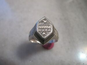 Very Rare Antique Medieval Renaissance Era Occult Signet Silver Enamel Ring 11US