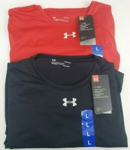 New Mens Under Armour Locker 2.0 Heat Gear Loose Fit Shirt Black & Red in Large