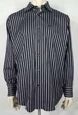 Faconnable black pink silver striped cotton long sleeve button up shirt mens XL