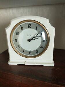 Very Clean Vintage Smith's White bakelite mantle Clock