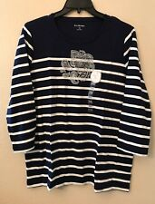 NWT Kim Rogers Women's XXL Navy White Striped Silver Sparkle Paisley Floral Top
