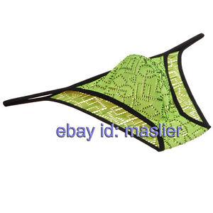 Men's Breathable String Jacquard Bikinis Briefs Underwear Micro Brief Mini Pants