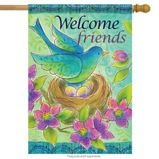 "Bluebird Nest Spring House Flag Floral Double Sided Welcome Friends 28"" x 40"""