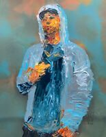 ORIGINAL Abstract Eminem Hoodie Middle Finger Hip Hop Music Wall Art Painting