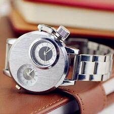 Waterproof Men Stainless Steel Date Multiple Time Zone Quartz Analog Wrist Watch