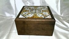 VINTAGE WOODEN DISPLAY & STORAGE BOX WITH INLAID GLASS or TILE LID - WELL MADE